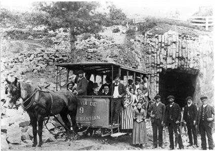 Tranvia en San Sebastián en 1888